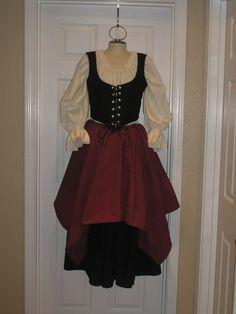 pirate wench costume--white blousy shirt and taffeta skirt with pick ups