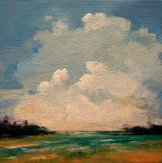 GREAT DAY, Original oil painting, 100% charity donation, original painting, 4x4, canvas, landscape, sky, river, teal