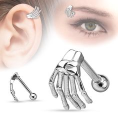 Skeleton Hand Top  Surgical Steel Eyebrow Cartilage Barbell Helix Body Jewelry