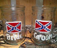 Redneck wedding shot glasses rebel flag shot by ItsJustSlate, $10.00