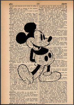 Classic Mickey Mouse Dictionary Art Print by SmittensDesigns, $7.50