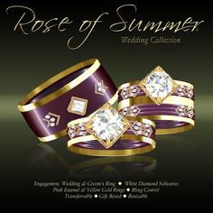 Second Life Marketplace - DEMO - Exquisite Rose of Summer Yellow Gold Wedding Set