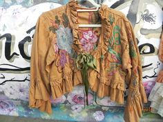 ❤Magnolia Pearl Embroidered Mustard Jacket Coat❤Handmade in USA❤Vintage MP❤ HTF