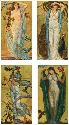 Walter Crane, Morn; Noon; Eve; Night, 1891, oil on panel