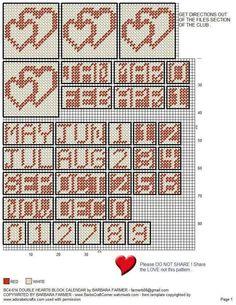 DOUBLE HEARTS BLOCK CALENDAR by BARBARA FARMER