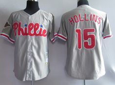 Hollins grey Jersey $18.99  This jersey belongs to Hollins, Philadelphia Phillies #15  Color: grey, Size: M, L, XL, XXL, XXXL  The jersey is made of heavy fabric with nylon diamond weave mesh