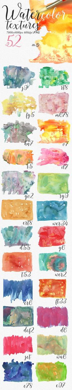 52 Watercolour textures PNG by Aleksandra Slowik on Creative Market