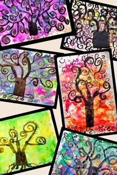 PARK ART SMARTIES: Tree of Life: wet a piece of drawing paper with a brush dipped in water. Then dip brush in liquid watercolors. Tap the brush on finger to create drips of paint. When dry, use India ink to paint a swirl tree inspired by Gustav Klimt Tree Of Life Art, Tree Art, Klimt Art, Gustav Klimt, Elementary Art Lesson Plans, 2nd Grade Art, Grade 2, Artist Project, Ecole Art
