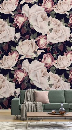 This sophisticated floral mural features an array of pink watercolour roses in toned saturated colours on a dark black background, creating a vintage feel. It isa perfect piece for a bedroom or living room to add an extra touch of class and charm to spaces in your home that you would like to have a traditional style. Pair with classical furnitureand deep colors to complete the look. #wallpaper #mural #wallmural #interiorandhome #livingroom