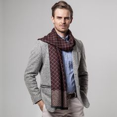 2019 New Arrival Men's Plaid Cashmere Scarf Material: Cashmere/ Cotton Comes in 5 colors: navy, coffee, blue , black and red Scarf Length: inches Winter Outfits Men, Casual Outfits, Christian Dior, Mens Cashmere Scarf, Elegant Man, Sweater Layering, Models, Unisex, Scarf Styles