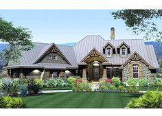 Plan Mountain, Vacation, Corner Lot, Northwest, Craftsman House Plans & Home Designs - reverse the plan and then it works for the garage access and the entrance - would just have to shuffle a bit in the rest of the house Tuscan House Plans, French Country House Plans, Craftsman Style House Plans, Country Houses, The Plan, How To Plan, Plan Plan, Future House, Design Case