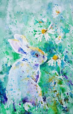 ARTFINDER: Summer Smells by Zaira Dzhaubaeva - Original watercolor painting on paper.  Cute rabbit on the meadow in impressionist style.  Please note that the colors of the original paintings are alwa...