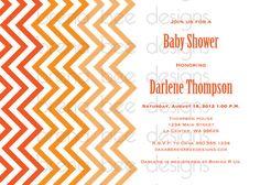 Orange Chevron  Shower Birthday Invitation by brenabeedesigns, $10.00