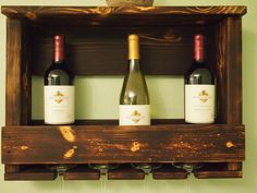 "made with hand picked lumber and matched with the perfect eco-friendly stain to give it a one of a kind look.  Wine racks are approximately 23x16.5x5.5. They have two mounting holes that are 16"" on center and come with screws and drywall anchors for easy mounting."