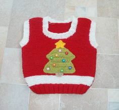 #christmas #baby #vest red x-mas tree vest for baby 12 от tappleta