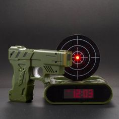 Lock N' load target alarm clock...you have to shoot the target to turn off the alarm! Fun for boys!