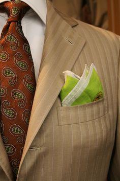 veri-sarti: Veri sarti tailored suits wool & silk Dormeuil fabric super 130', hemmed by hand pochette, silk tie.