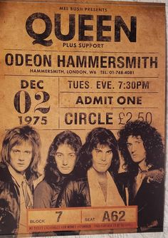 Queen concert poster replica for their 1975 concert at the Odeon Hammersmith! 18 x 24 and perfect for framing Pop Rock, Rock And Roll, The Beatles, Concert Rock, Rock Vintage, Rock Band Posters, Queen Poster, Vintage Concert Posters, Tour Posters