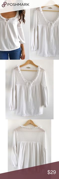 "Evie White Romantic Top Evie White Romantic Top! Super soft and comfortable. Great condition, gently used. Crochet detailing. Ties on neckline. Medieval sleeves. Cotton rayon blend. Chest-35"" length-24"" sleeve-19"" size medium. Evie Tops"