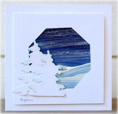 handcrafted card from Rapport från ett skrivbord ... winter theme ... large hexagon negative space filled with impressionistic winter landscape created with encaustic wax ..two die cut evergreen trees in white .. delightful card!!