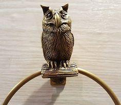BRASS BIRD TOWEL RING DOOR HANG NAPKIN OWL WALL SPIGOT MOUNT VINTAG HOME DECOR