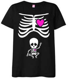Halloween Maternity T-Shirt Costume Rib Cage and Baby Skeleton in Black / White / Hot Pink - S M L XL - Small , Medium , Large & XL on Etsy, $32.50