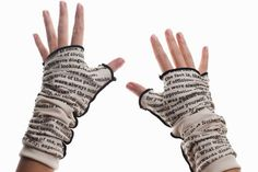 Writing Gloves - I could sure use these today. It is freeeeezzzzzzzing in Chicago (and they're cute). The link is to a store featuring all sorts of literary apparel.