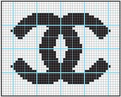 Embroidery Alphabets Bracelets Logo Chanel - got to do this in needlepoint Tapestry Crochet Patterns, Bead Loom Patterns, Beading Patterns, Cross Stitch Charts, Cross Stitch Designs, Cross Stitch Patterns, Chanel Logo, Embroidery Alphabet, Embroidery Stitches
