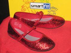 Girls Smartfit Glitter Brillant Ballet Dress Shoes Flat Size13 Youth Velcro #Smartfit #DressShoes