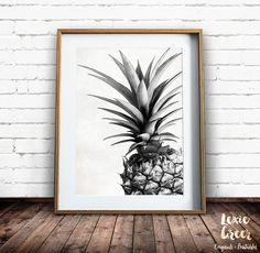 Pineapple Print, Tropical Print, Pineapple Photo, Black and White, Fruit Print… Sunset Beach Hawaii, Pineapple Print, Pineapple Ideas, Fruit Print, Kitchen Art, Beach Art, Printable Wall Art, Fine Art Paper, Photos