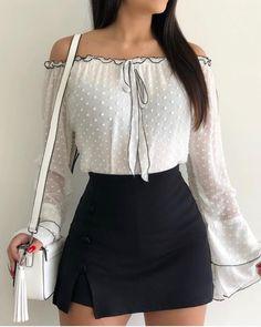 Shop Blouses & Shirts Off Shoulder Bell Sleeve Casual Blouse Womens Fashion Online, Latest Fashion For Women, Look Fashion, Fashion Outfits, Fashion Trends, Fashion Ideas, Winter Fashion, Hippie Fashion, Fashion Skirts