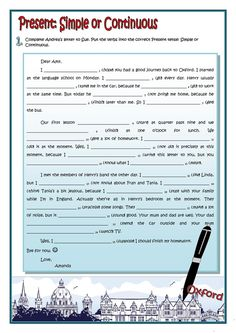 A LETTER - PRESENT SIMPLE OR CONTIONUOUS worksheet - Free ESL printable worksheets made by teachers