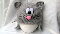 śliczna czapeczka kotek - Swiat-Fantazjii - Czapki na szydełku