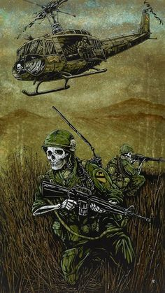 Title: Air Cav Artist: David Lozeau The American soldiers traverse the damp terrain while helicopter transport flies overhead. Made-to-order giclee fine art reproductions on canvas featuring the o Fantasy Kunst, Fantasy Art, Stretched Canvas Prints, Canvas Art Prints, Street Art, Military Drawings, Arte Horror, Military Art, Military Life