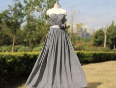 Sweetheart Gray Prom Dress,Grey Long Evening Dress,Handmade Pleat Chiffon Wedding Party Dress,Formal Evening Dress,Gray Bridesmaid Dress