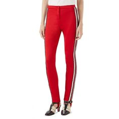 Gucci Tech Jersey Stripe Crystal Pants ($2,200) ❤ liked on Polyvore featuring pants, gucci pants, red stripe pants, gucci trousers, red trousers and studded pants