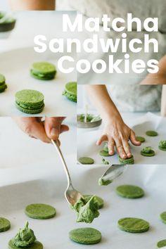 Double the matcha goodness like these cookies! Matcha Cookies, Matcha Tea Powder, Sweet Chestnut, Organic Matcha, Asian Recipes, Ethnic Recipes, Sandwich Cookies, Fresh Green, Healthy Drinks