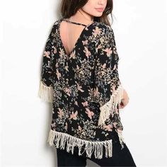 Navy floral boat neck top with fringe Statement top. Navy with turquoise. Stock photos are of the black top. Never worn. Pink owl Tops Blouses