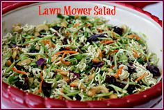 Lawn Mower Salad - 1 (12 oz) bag broccoli slaw mix, 1 bunch green onions, sliced including some of the green blades, 1 cup salted cashew pieces, 1 cup dried cranberries (or raisins), 1/2 cup oil (vegetable, canola or extra virgin olive oil), 1/2 cup sugar, 1/4 cup rice wine or cider vinegar, 1/4 cup water, 1 tsp soy sauce, 2 pkgs chicken flavored Ramen noodles, crushed with seasoning packets reserved