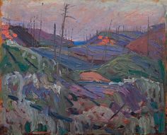 """""""Fire-Swept Hills,"""" Tom Thomson, oil on composite wood-pulp board, The Art Gallery of Ontario. Art Gallery Of Alberta, Winnipeg Art Gallery, Art Gallery Of Ontario, Canadian Painters, Canadian Artists, Landscape Art, Landscape Paintings, Modern Paintings, Abstract Paintings"""