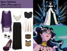 Requested by: mylovelylittleobsessions Forever 21 rhinestoned plates bracelet Forever 21 etched woven cuff in Gold/Black SheInside solid irregular cape chiffon shirt in Purple Mood statement polished. Sailor Moon Outfit, Sailor Moon Cosplay, Cartoon Outfits, Anime Outfits, Sailor Moon Collectibles, Anime Inspired Outfits, Cosplay Tutorial, Bustier Dress, Casual Cosplay
