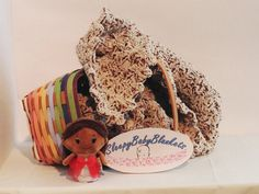 Peanut Butter Cup Crocheted Baby Blanket  by SleepyBabyBlankets