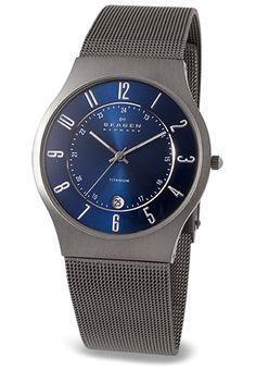 Skagen Watch of Denmark in Blue Titanium Mesh 233XLTTN - Watchismo is an Authorized Dealer of Danish Modern Watches