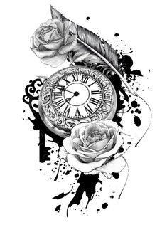 Clock time Kendra was born, Phoenix feather, roses from wedding, the key to my heart