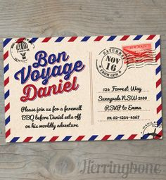 bon voyage farewell printable invitation by herringbonedesign 1500