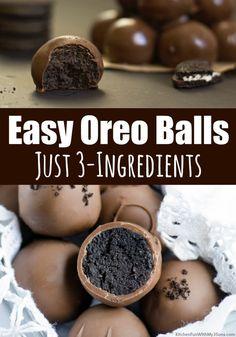 Easy Oreo Balls Recipe - Easy dessert recipe Just 3 Ingredients! Easy Oreo Balls Recipe - Easy dessert recipe Just 3 Ingredients! Oreo Balls Recipe 3 Ingredients, Easy Oreo Ball Recipe, Recipe Balls, Oreo Cookie Balls Recipe, Oreo Truffles Recipe, Oreo Cookies, Chip Cookies, Tolle Desserts, Köstliche Desserts