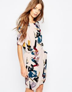 Image 1 of Selected Tara Dress in Brush Stroke Print