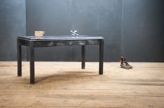 USA, c.1940s. Vintage Industrial Kennedville Industrial Directorate Desk/Table. Raw Steel Construction with Black Composite Top. Smooth Functioning Drawer. Well Worn Patina. Commanding Presence. factory20.com