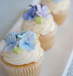 Pretty Blue Ombre Flower Cupcake