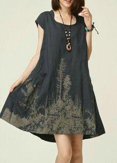 I wonder if I used bleach to create something similar in pattern. Linen Dresses, Cotton Dresses, Super Moda, Vetements Clothing, Dress Plus Size, Boho Fashion, Fashion Design, Mode Style, I Dress